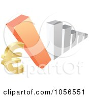 Royalty Free Vector Clip Art Illustration Of A Bar Graph Falling Down On A Euro Symbol by Andrei Marincas