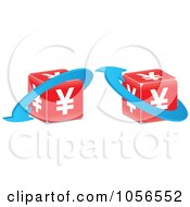Royalty Free Vector Clip Art Illustration Of A Digital Collage Of Red Yen Cubes With Blue Arrows