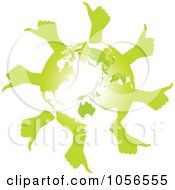 Royalty Free Vector Clip Art Illustration Of A Green Globe With Thumb Up Hands 1 by Andrei Marincas
