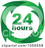 Royalty Free Vector Clip Art Illustration Of A Green 24 Hours And Arrows Sign