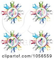 Royalty Free Vector Clip Art Illustration Of A Digital Collage Of Colorful Spade Club Heart And Diamond Poker Circles With Stars