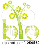 Royalty Free Vector Clip Art Illustration Of A Bio Word Made Of Globes Stems And A Droplet