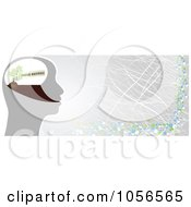 Royalty Free Vector Clip Art Illustration Of A Green Business Brain And Gray Banner by Andrei Marincas
