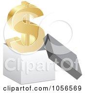 Royalty Free Vector Clip Art Illustration Of A 3d Golden Dollar Symbol In A Box by Andrei Marincas