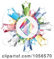 Royalty Free Vector Clip Art Illustration Of A Colorful Diamond Poker Circle With Stars