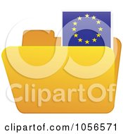 Royalty Free Vector Clip Art Illustration Of A Yellow Folder With A European Flag Tab by Andrei Marincas
