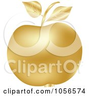 Royalty Free Vector Clip Art Illustration Of A 3d Golden Apple by Andrei Marincas