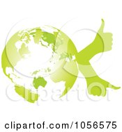 Royalty Free Vector Clip Art Illustration Of A Green Globe With Thumb Up Hands 2 by Andrei Marincas