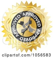 Royalty Free Vector Clip Art Illustration Of A Gold Thumbs Up Approved Seal