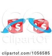 Royalty Free Vector Clip Art Illustration Of A Digital Collage Of Red Dollar Cubes With Blue Arrows by Andrei Marincas