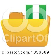 Royalty Free Vector Clip Art Illustration Of A Yellow Folder With A Nigerian Flag Tab