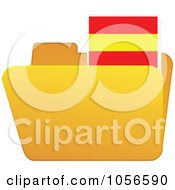 Royalty Free Vector Clip Art Illustration Of A Yellow Folder With A Spanish Flag Tab
