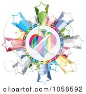 Royalty Free Vector Clip Art Illustration Of A Colorful Spade Poker Circle With Stars by Andrei Marincas