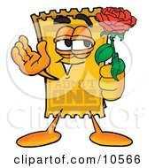 Clipart Picture Of A Yellow Admission Ticket Mascot Cartoon Character Holding A Red Rose On Valentines Day by Toons4Biz