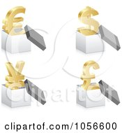Royalty Free Vector Clip Art Illustration Of A Digital Collage Of 3d Golden Currency Symbols In Boxes
