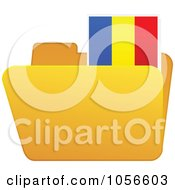 Royalty Free Vector Clip Art Illustration Of A Yellow Folder With A Romanian Flag Tab