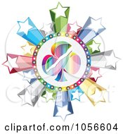 Royalty Free Vector Clip Art Illustration Of A Colorful Club Poker Circle With Stars by Andrei Marincas