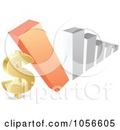 Royalty Free Vector Clip Art Illustration Of A Bar Graph Falling Down On A Dollar Symbol by Andrei Marincas