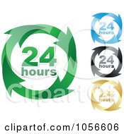 Royalty Free Vector Clip Art Illustration Of A Digital Collage Of 24 Hours And Arrows Sign