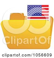 Royalty Free Vector Clip Art Illustration Of A Yellow Folder With An American Flag Tab by Andrei Marincas