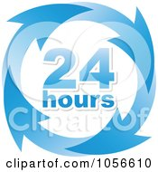 Royalty Free Vector Clip Art Illustration Of A Blue 24 Hours And Arrows Sign