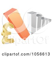Royalty Free Vector Clip Art Illustration Of A Bar Graph Falling Down On A Lira Symbol by Andrei Marincas