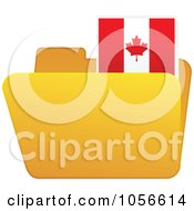 Royalty Free Vector Clip Art Illustration Of A Yellow Folder With A Canadian Flag Tab