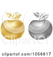 Royalty Free Vector Clip Art Illustration Of A Digital Collage Of 3d Silver And Golden Apples