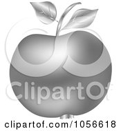 Royalty Free Vector Clip Art Illustration Of A 3d Silver Apple by Andrei Marincas