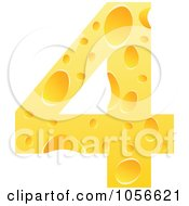 Royalty Free Vector Clip Art Illustration Of A Cheese Textured Number 4 Four by Andrei Marincas