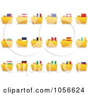 Royalty Free Vector Clip Art Illustration Of A Digital Collage Of Yellow Folders With National Flag Tabs