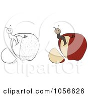 Royalty Free Vector Clip Art Illustration Of A Digital Collage Of Outlined And Colored Worm In An Apple With A Cut Off Wedge