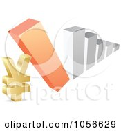 Royalty Free Vector Clip Art Illustration Of A Bar Graph Falling Down On A Yen Symbol by Andrei Marincas