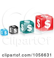 Royalty Free Vector Clip Art Illustration Of A Digital Collage Of Dollar Cubes by Andrei Marincas