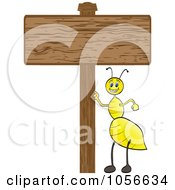 Yellow Ant With A Blank Wood Sign