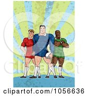 Royalty Free Clip Art Illustration Of Retro Rugby Players