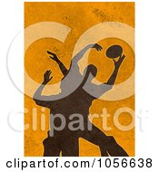 Royalty Free Clip Art Illustration Of Silhouetted Rugby Players On Orange Grunge