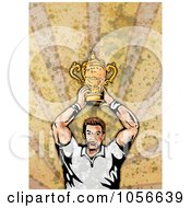 Royalty Free Clip Art Illustration Of A Retro Rugby Player Holding A Trophy On Grunge