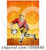 Royalty Free Clip Art Illustration Of A Retro Rugby Player Passing On Orange Grunge