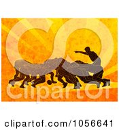 Royalty Free Clip Art Illustration Of Rugby Players Scrumming On Orange Grunge