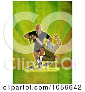Royalty Free Clip Art Illustration Of A Retro Rugby Player Tackling On Green Grunge