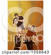 Royalty Free Clip Art Illustration Of A Retro Rugby Player Jumping On Orange Grunge