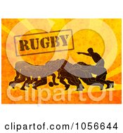 Royalty Free Clip Art Illustration Of Rugby Players Scrumming On Orange Grunge With Text