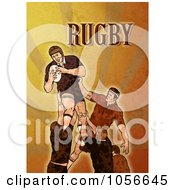 Royalty Free Clip Art Illustration Of A Retro Rugby Player Jumping On Orange Grunge With Text