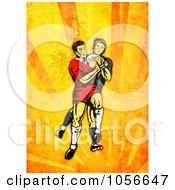 Royalty Free Clip Art Illustration Of A Retro Rugby Player Attacking On Orange Grunge