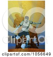 Royalty Free Clip Art Illustration Of A Retro Rugby Player Kicking On Grunge
