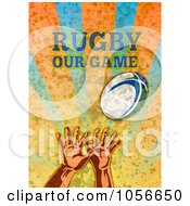 Royalty Free Clip Art Illustration Of Hands Reaching Up For A Rugby Ball Over Grunge With Text