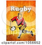 Royalty Free Clip Art Illustration Of A Retro Rugby Player Passing On Orange Grunge With Text