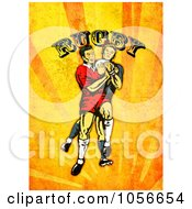 Royalty Free Clip Art Illustration Of A Retro Rugby Player Attacking On Orange Grunge With Text