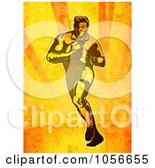 Royalty Free Clip Art Illustration Of A Retro Rugby Player Running On Grungy Orange
